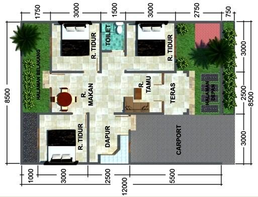 gambar denah rumah satu lantai tiga kamar 1