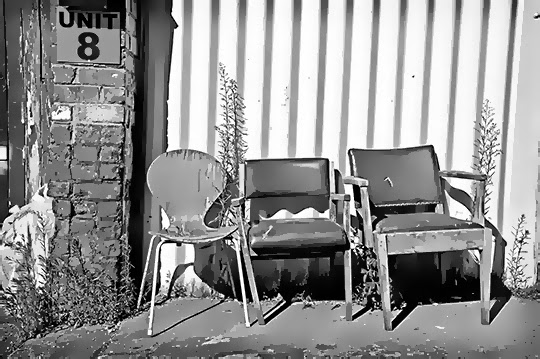 work break, black and white, urban, photography, chairs,