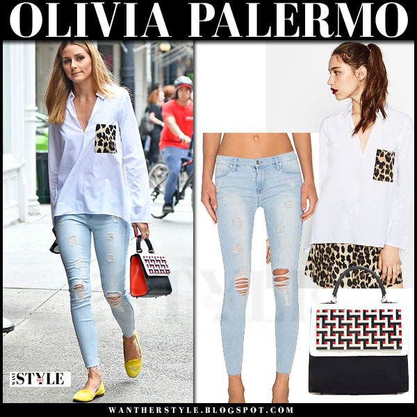Olivia Palermo in white leopard pocket zara shirt, skinny jeans and black red les petite joueurs alex handbag what she wore