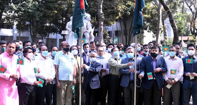 Celebration of the historic flag hoisting day of Dhaka University