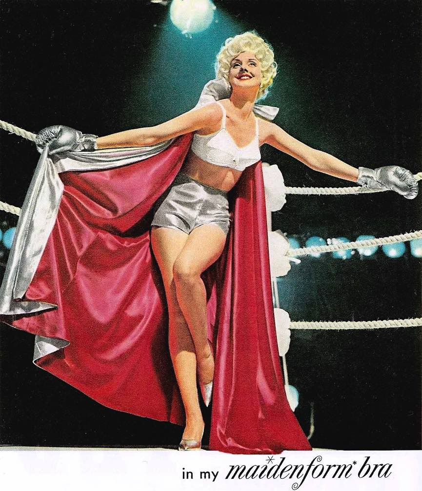 Maidenform bra advertisement dreams, a color photograph of woman in the boxing ring corner