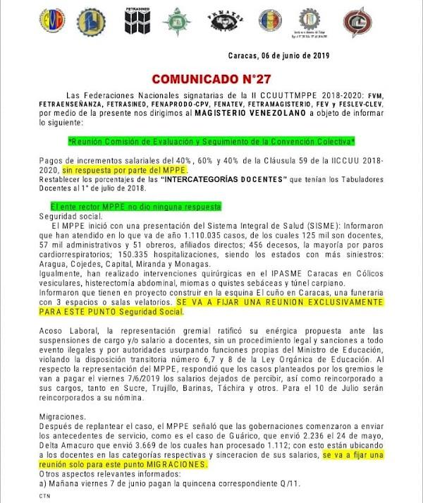 Fetraenseñanza: Reunión Comisión de Evaluación y Seguimiento de la Convención Colectiva