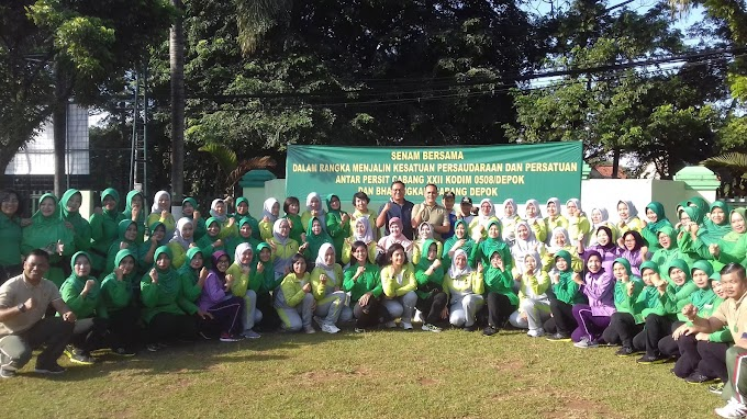 Pradi Hadiri Senam Bersama Persit dan Bhayangkari Cabang Depok