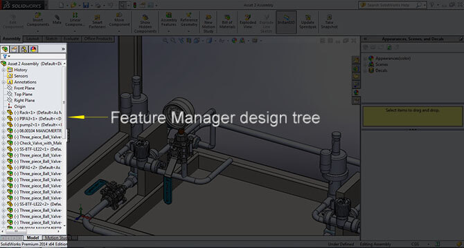 Feature Manager design tree solidworks