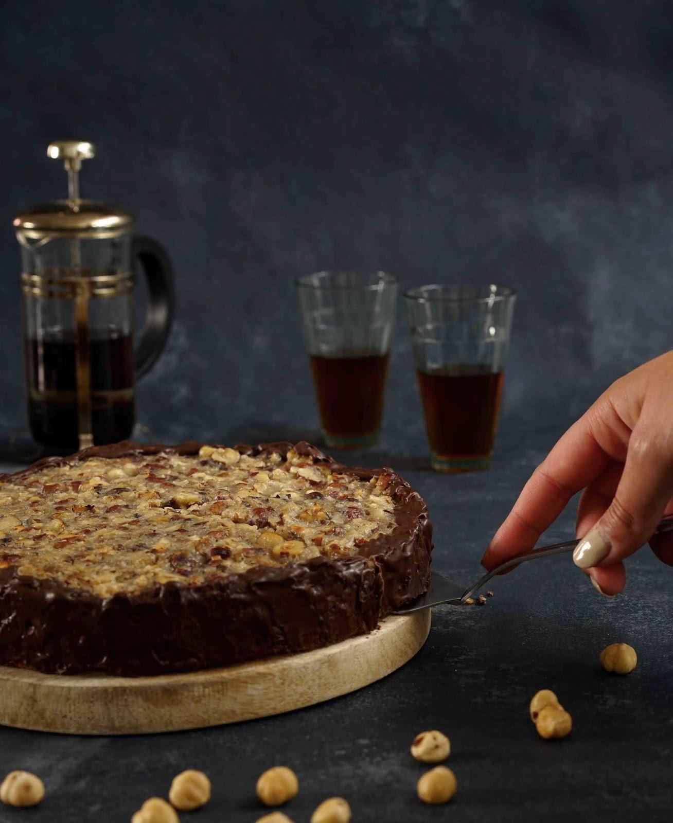 caramel , noisettes , chocolat , dessert pour toute la famille