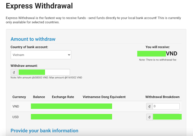 Choose withdrawal amount and enter bank information