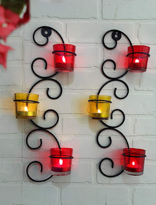 Set of 2 Wall Hanging Tealight Candle Holder