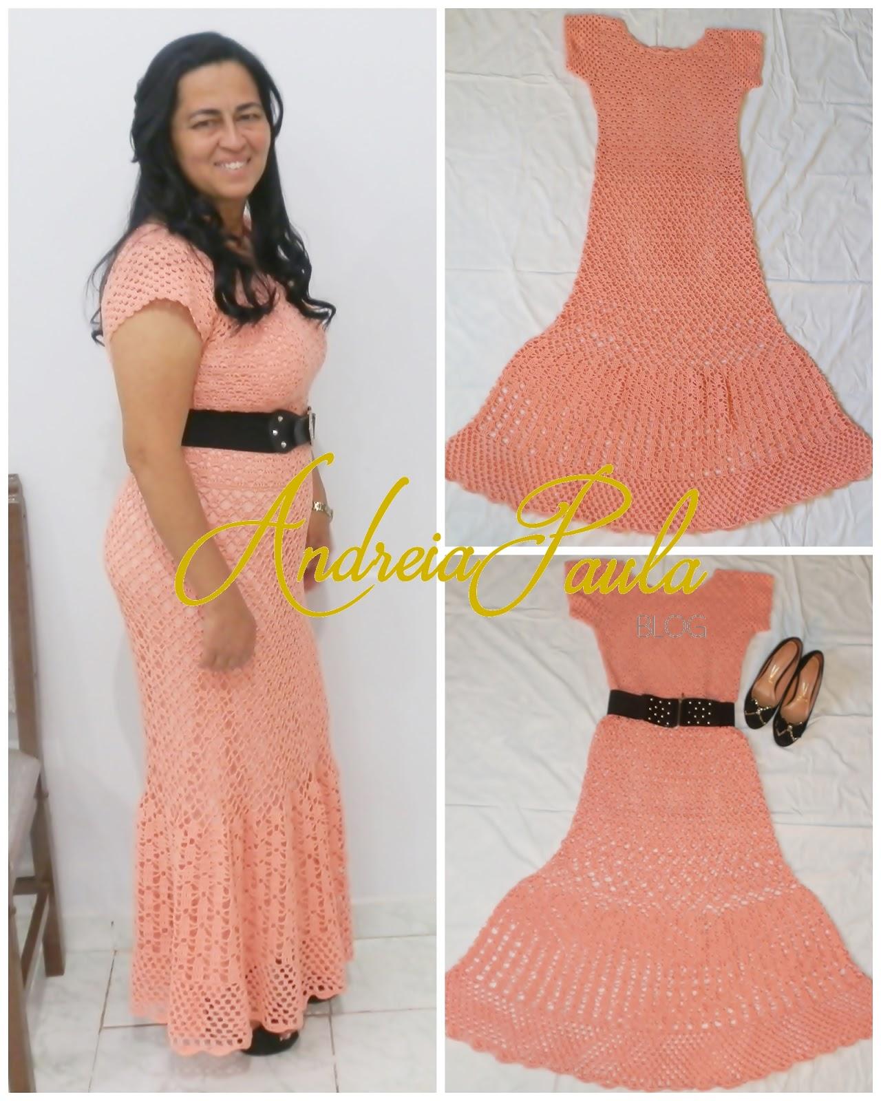 Vestido Longo De Crochê Salmão Ateliê Andreia Paula
