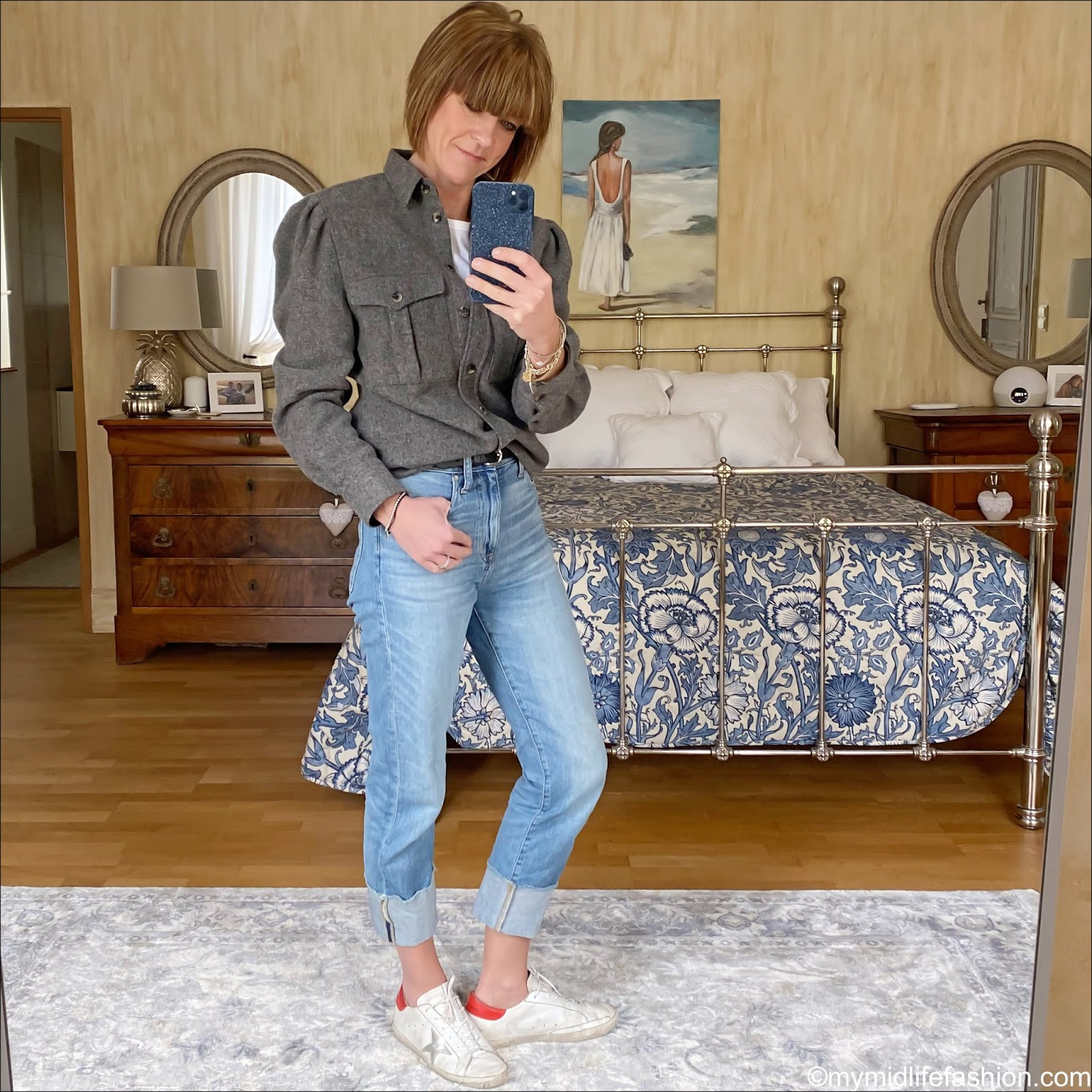 my midlife fashion, golden goose superstar low top leather trainers, j crew turn up boyfriend straight fit jeans, Marks and Spencer crew neck long sleeve t shirt, studded Isabel Marant Etoile belt. Isabel Marant wool overshirt