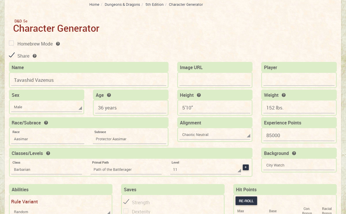 5E Generator retronerds : 252: excellent character generator for d&d 5e