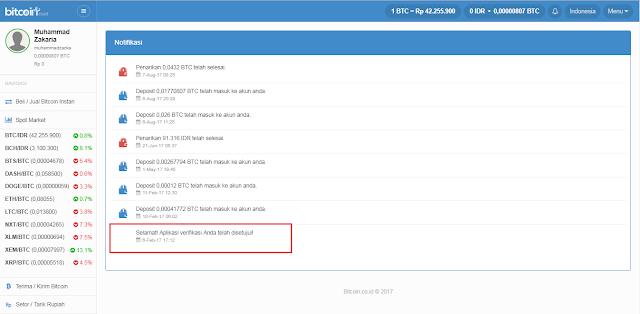 bukti aplikasi verifikasi akun Bitcoin.co.id di terima
