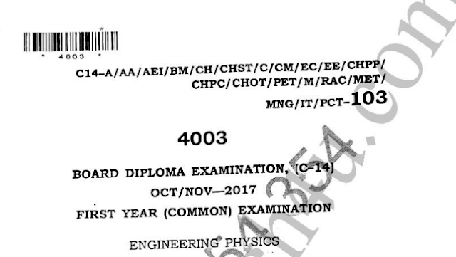 Diploma polytechnic Engineering Physics Oct/Nov 2017 Previous Question Paper c14
