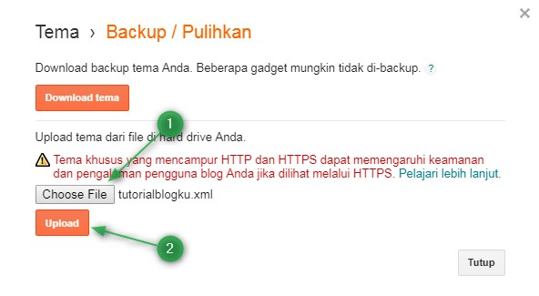 mengganti template,tema,backup,pulihkan,chose file,upload