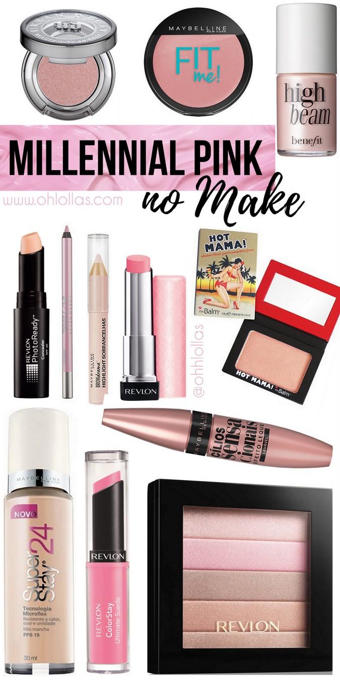 Millennial pink é cor tendência em 2017. Listamos 12 produtos de maquiagem para aderir aos tons de rosa pastel, rose gold e peach orange no make up @ohlollas