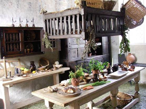 Dolls 39 houses and miniatures tudor and elizabethan interiors for Tudor kitchen design