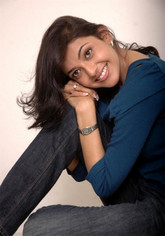 Kajal Agarwal Long Hair Stills In Blue Top Black Jeans