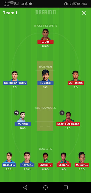 AFG vs BAN Final T20 Dream11 Team Predictions Today Match