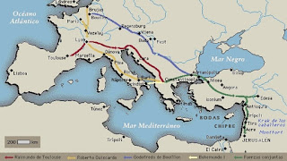 Rutas de los cruzados durante la Primera Cruzada