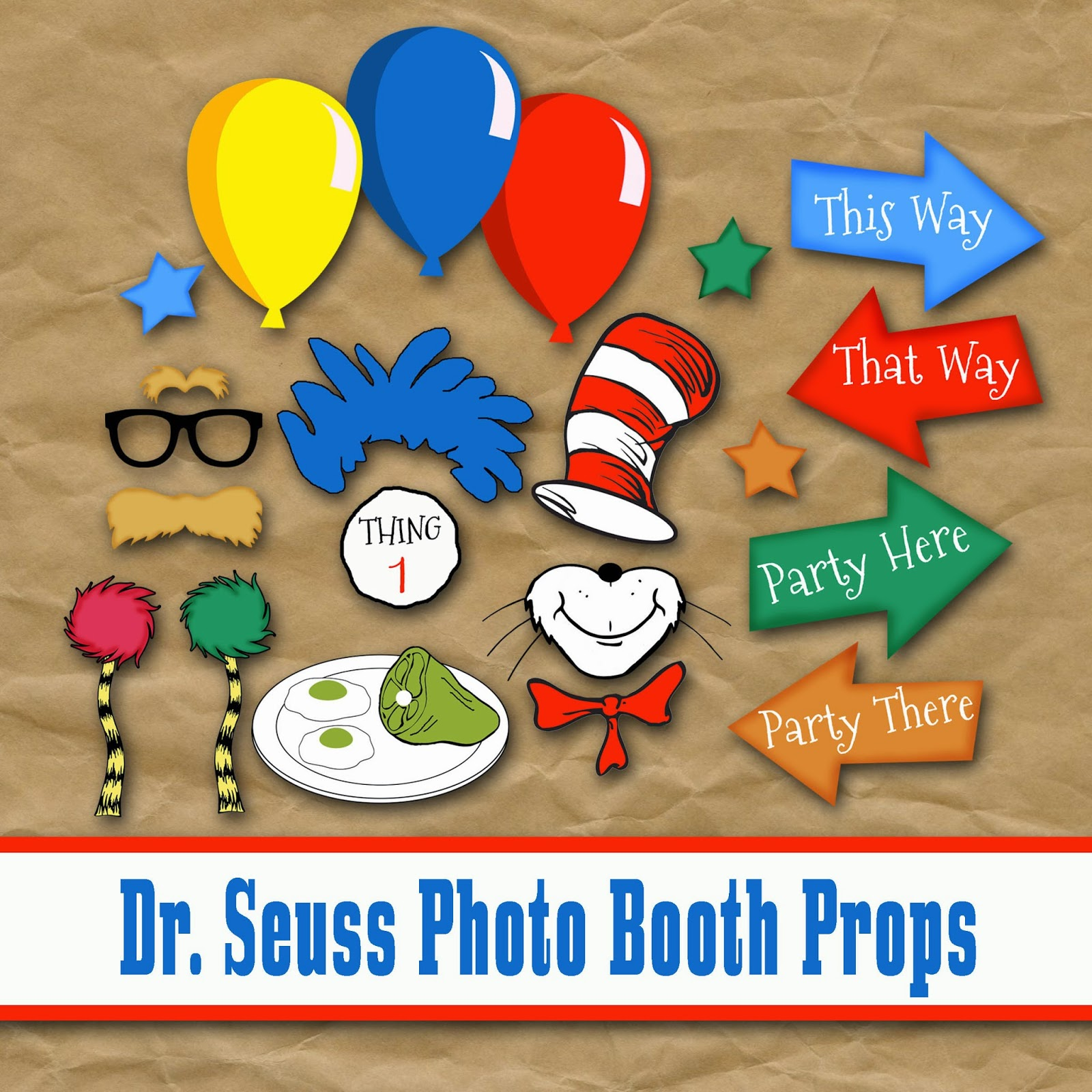 Old Market Corner Dr Seuss Photo Booth Printable Props