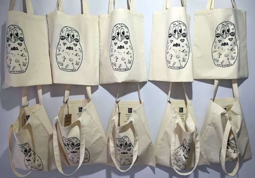 Limited edition screen printed bags with MATRYO$KA graphic designed by Kokimoto
