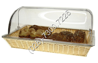 Khay đựng trưng bày bánh mì chữ nhật có nắp pc