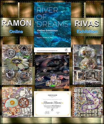 """Obras de Ramón Rivas, presentadas en la exposición en línea: """"RIVER OF DREAMS"""", junto al Folleto y el Certificado"""