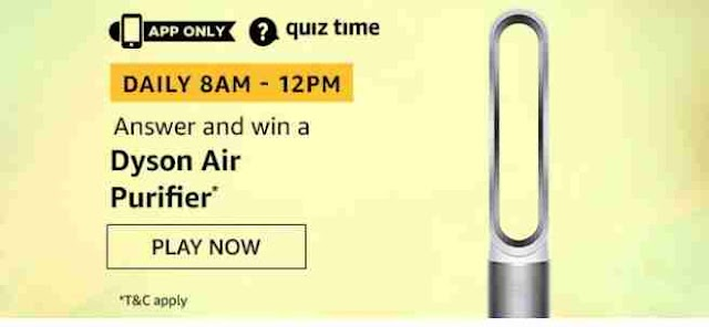 (Daily Quiz Time)Amazon Quiz 4 August 2020 Answers Today Win Dyson Air Purifier