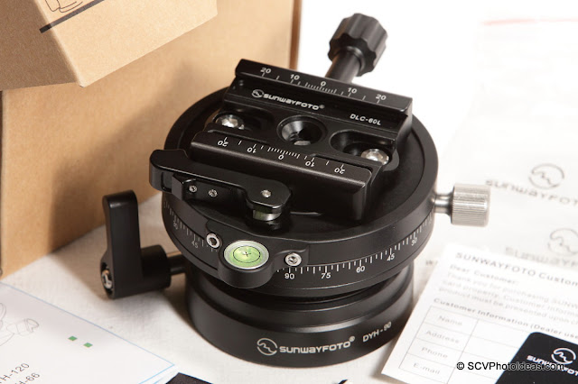 Sunwayfoto DYH-90R Leveling Base+DLC-60L Duo QR clamp combo overview