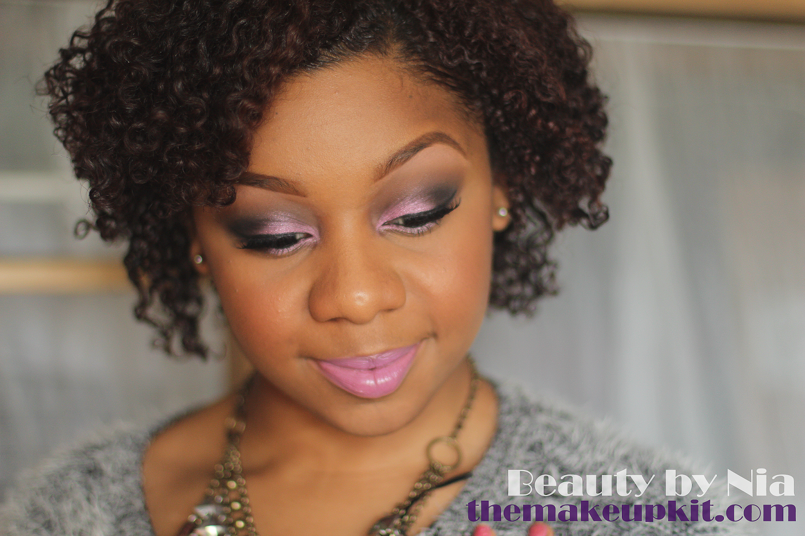 Pink and Black Smokey Eye with Lavender Lip 4