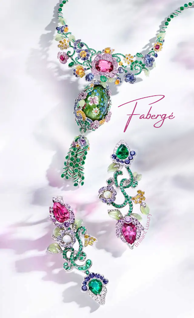 Fabergé Secret Garden High Jewellery Collection colorful necklace & earrings #brilliantluxury