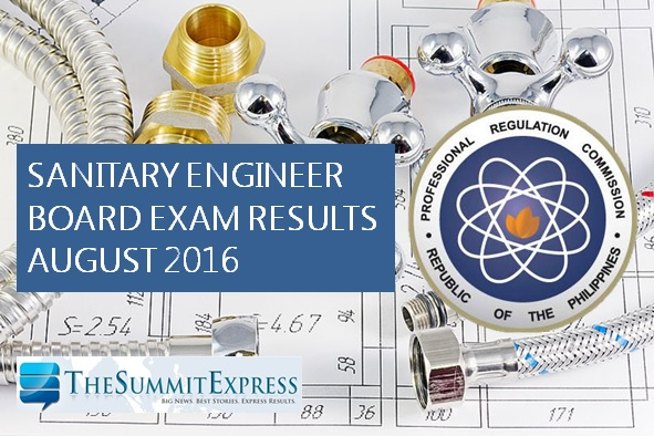 August 2016 Sanitary Engineer board exam results