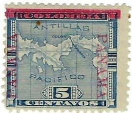 Early Panama Overprint of Colombia Isthmus Issue