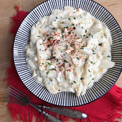 weißer Spargelsalat mit Schnittlauch & Ei