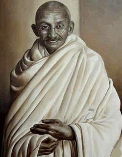 Retrato de Mahatma Gandhi con túnica