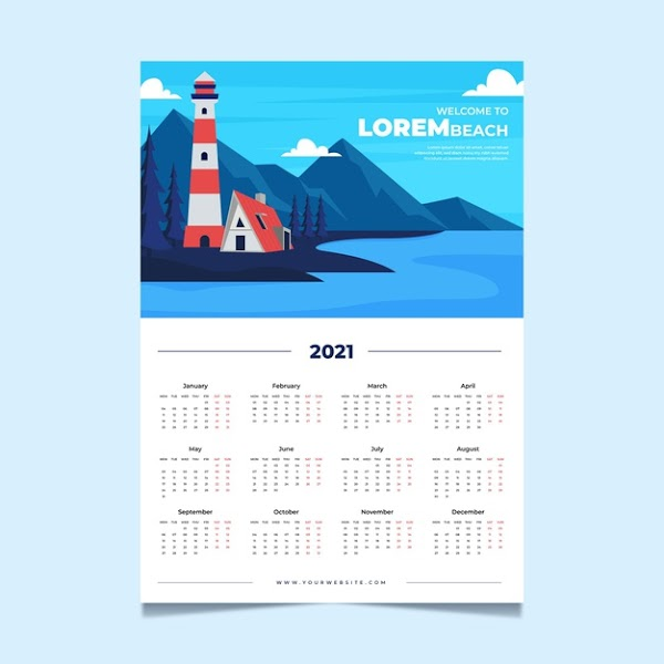 Calendario 2021 de pared estilo faro para imprimir