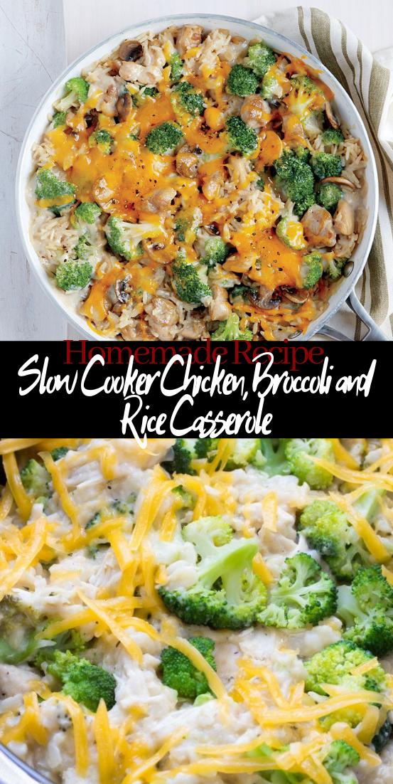 Slow Cooker Chicken, Broccoli and Rice Casserole #dinnerrecipe #food #amazingrecipe #easyrecipe