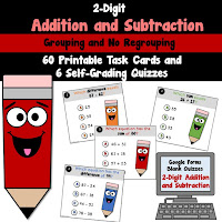 2 Digit Add Subtract Task Cards