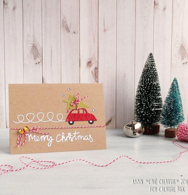 Card handmade con automobile e albero di Natale