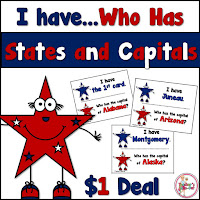 I Have Who Has States and Capitals Dollar Deal