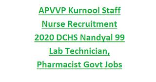 APVVP Kurnool Staff Nurse Recruitment 2020 DCHS Nandyal 99 Lab Technician, Pharmacist Govt Jobs Application Form