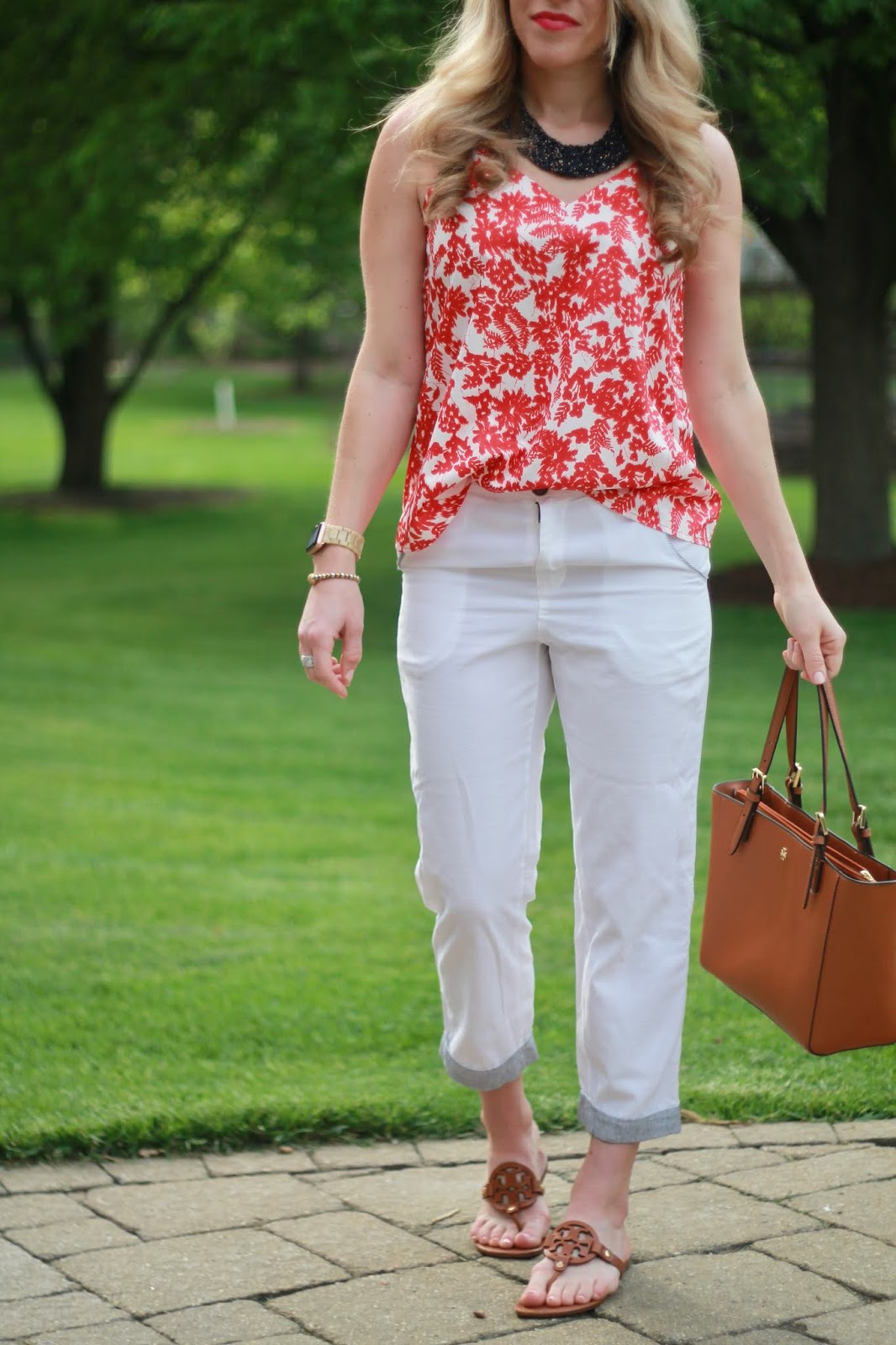 red white blue spring outfit, red floral blouse, white capris, Tory Burch Miller sandals, Tory Burch tote,