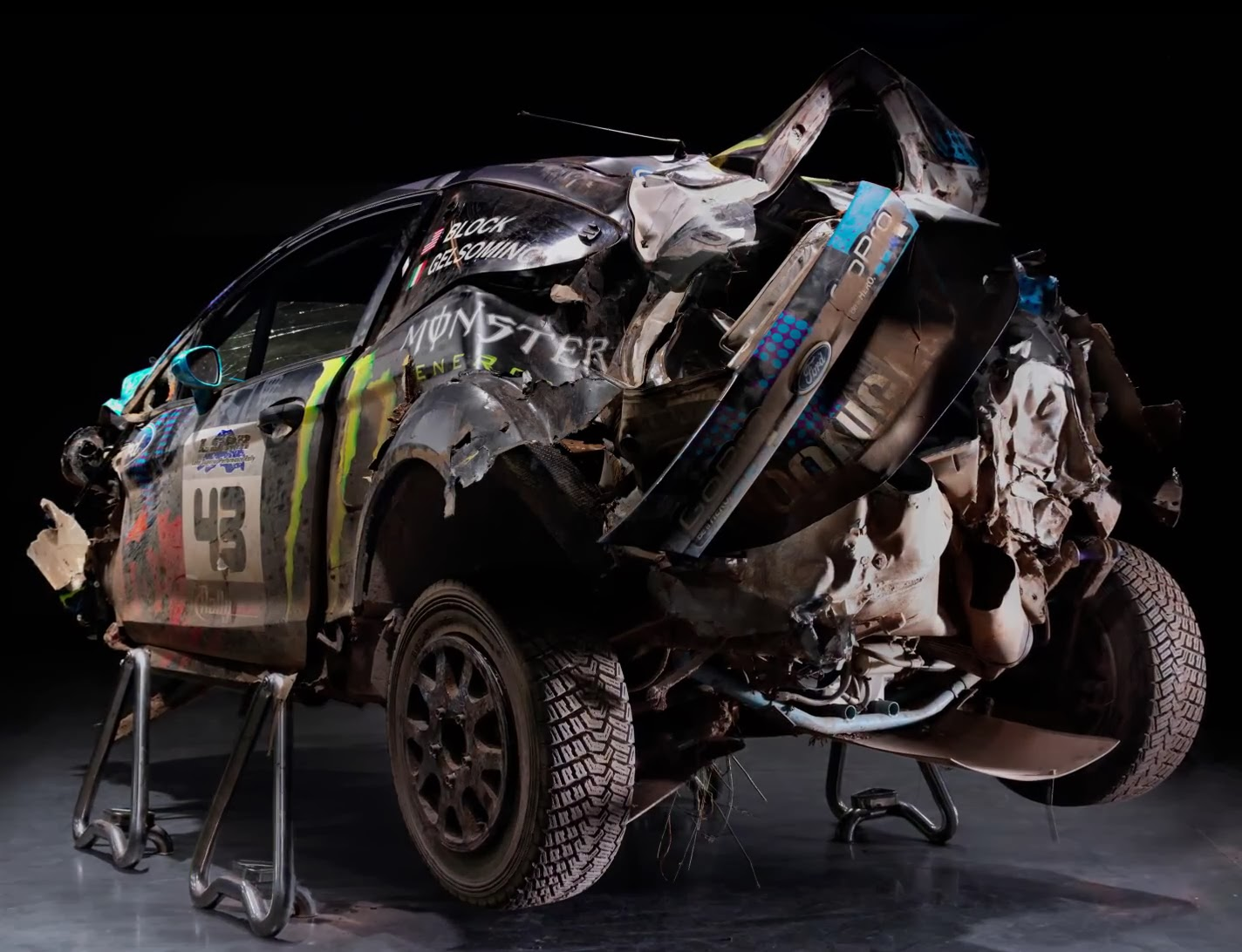 Wrecked Ford Fiesta from Rally Championship driver Ken Block