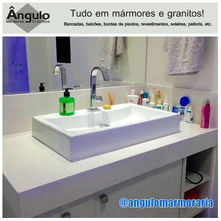 Ângulo Mármores e Granitos Pia de banheiro em BRANCO PRIME -> Pia De Banheiro Branco Prime