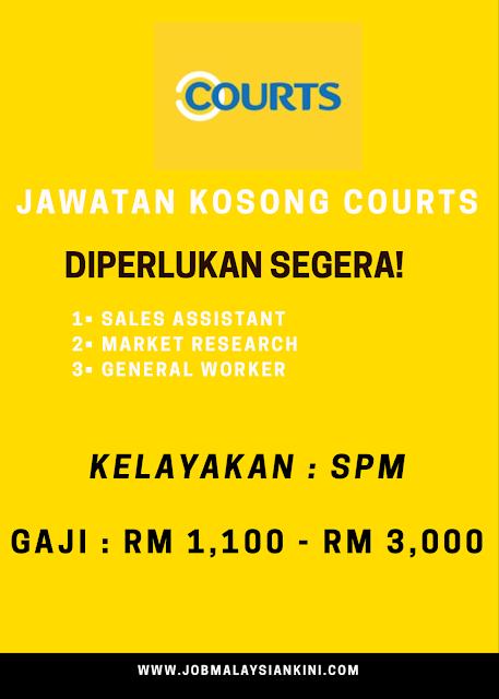 TERKINI! JAWATAN KOSONG COURTS MALAYSIA AMBILAN NOVEMBER 2019 KINI DIBUKA