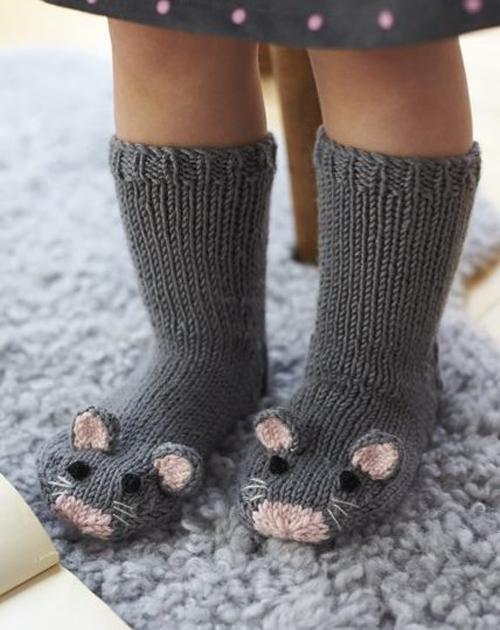 Mouse Socks - Free Knitting Pattern