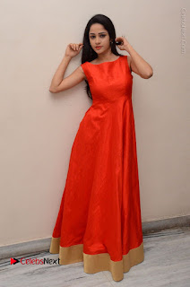 Telugu Actress Divya Nandini Stills in Orange Sleeveless Gown at Chennai Chaitrama Movie le Launch Event  0129.JPG