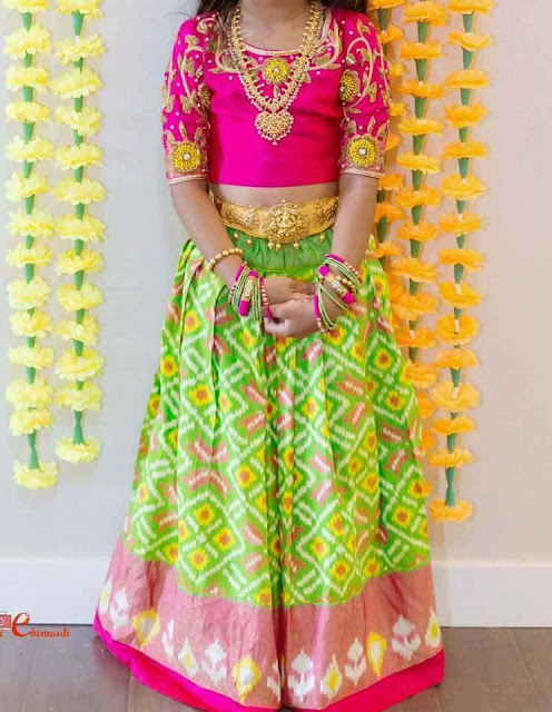 Neon Green Pink Big Kids Lehenga