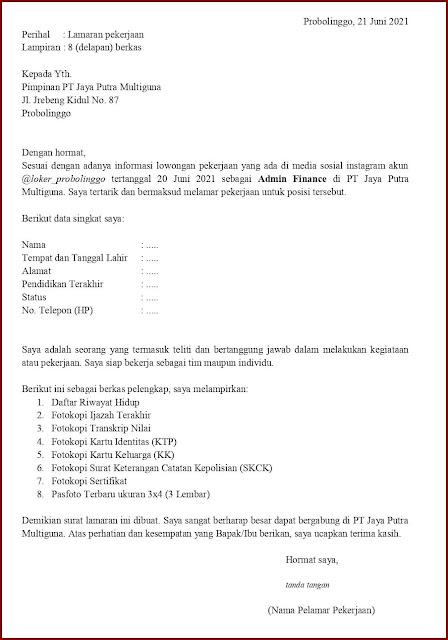 Contoh Application Letter Untuk Admin Finance (Fresh Graduate) Berdasarkan Informasi Dari Media Sosial