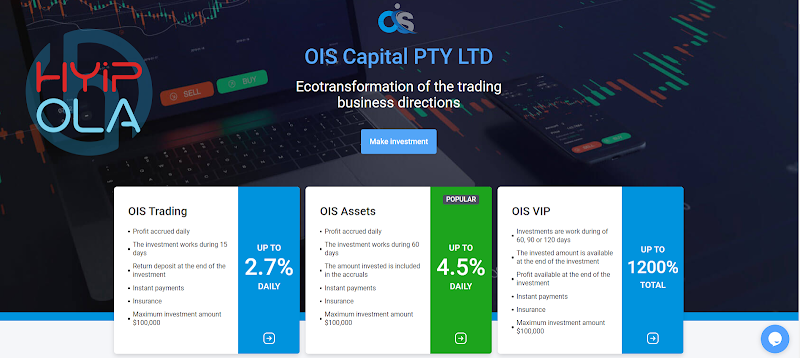 [SCAM] OIS Capital review - Dự án dài hạn với lãi suất lên đến 2.7% hằng ngày