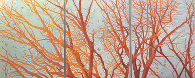 Katherine Kean, Separation Anxiety, original oil painting, red orange trees, birds